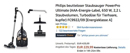 Philips beutteloser Staubsauger PowerPro Ultimate FC9922/09 - jetzt 16% billiger