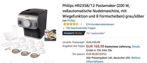 Philips HR2358-12 Pastamaker (200 W vollautomatische Nudelmaschine) - jetzt 14% billiger