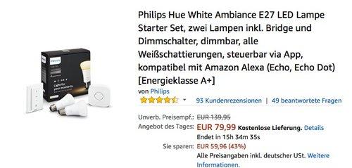 Philips Hue White Ambiance E27 LED Lampe Starter Set - jetzt 33% billiger