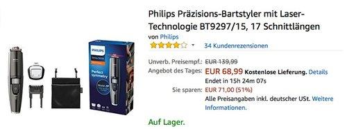 Philips Präzisions-Bartstyler mit Laser-Technologie BT9297-15 - jetzt 13% billiger