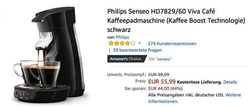 Philips Senseo HD7829 Viva Café Kaffeepadmaschine schwarz - jetzt 13% billiger