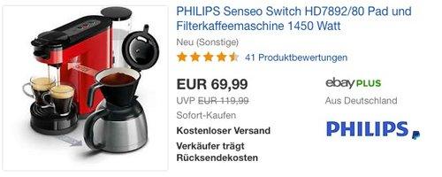 PHILIPS Senseo Switch HD7892-80 Pad und Filterkaffeemaschine - jetzt 15% billiger