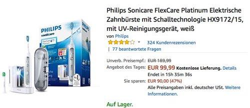 Philips Sonicare FlexCare Platinum Elektrische Zahnbürste mit Schalltechnologie HX9172-15 - jetzt 25% billiger