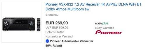 Pioneer VSX-932 7.2 AV Receiver 4K AirPlay DLNA WiFi BT Dolby Atmos Multiroom - jetzt 11% billiger