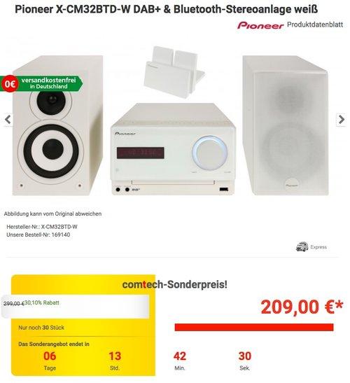 Pioneer X-CM32BTD-W DAB+ & Bluetooth-Stereoanlage weiß - jetzt 16% billiger