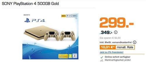 PlayStation 4 - Konsole (500GB, gold, slim) inkl. 2. DualShock Controller - jetzt 14% billiger