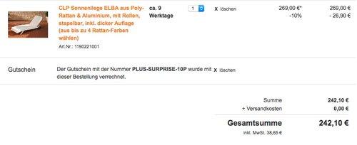Plus.de Onlineshop 10% Rabatt aus fast alles: CLP Sonnenliege ELBA - jetzt 10% billiger