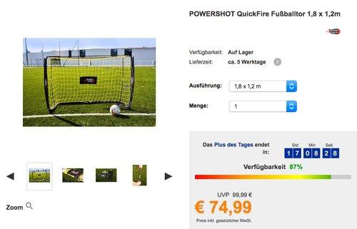 POWERSHOT QuickFire Fußballtor 1,8 x 1,2m - jetzt 20% billiger