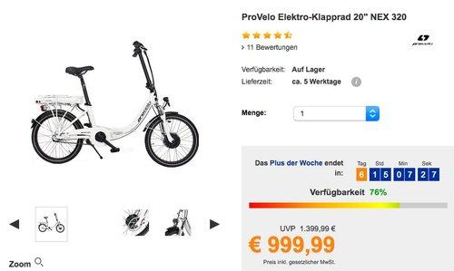 """ProVelo Elektro-Klapprad 20"""" NEX 320, weiß, 7 Gang Nabenschaltung - jetzt 23% billiger"""
