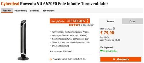 Rowenta VU 6670F0 Eole Infinite Turmventilator - jetzt 20% billiger