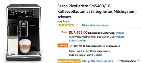 Saeco PicoBaristo SM5460/10 Kaffeevollautomat - jetzt 6% billiger