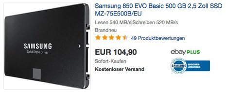 Samsung 850 EVO Basic 500 GB 2,5 Zoll SSD Festplatte - jetzt 12% billiger