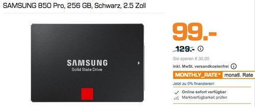 SAMSUNG 850 Pro 256 GB SSD Festplatte 2.5 Zoll - jetzt 23% billiger