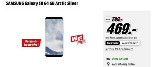 SAMSUNG Galaxy S8 64 GB +Terratec VR-Brille und Ultron Selfie Stick - jetzt 10% billiger