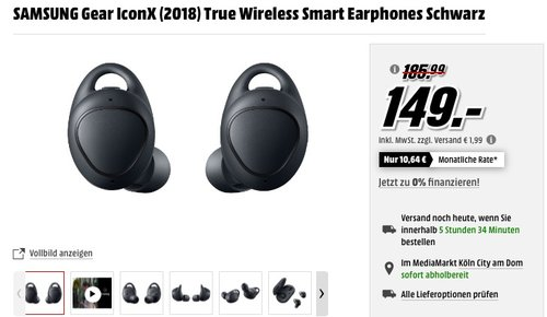 Samsung Gear IconX (2018) In-Ear-MP3-Player-Fitnesstracker - jetzt 17% billiger