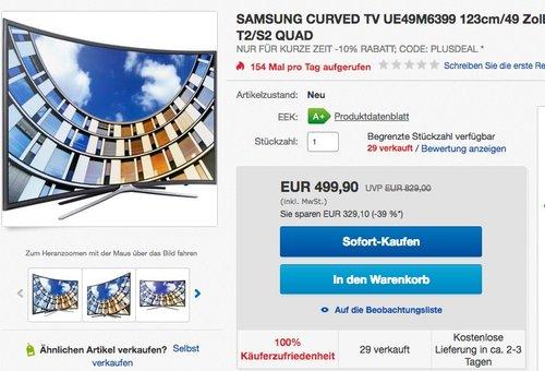Samsung M6399 123 cm (49 Zoll) Curved Fernseher - jetzt 8% billiger