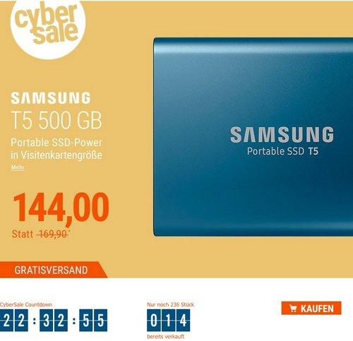 Samsung Portable SSD T5 500GB USB3.1 Gen2 Typ-C blau - jetzt 11% billiger
