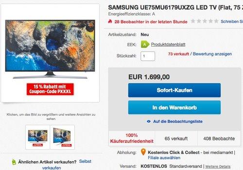 Samsung UE75MU6179UXZG 189 cm (75 Zoll) UHD 4K Fernseher - jetzt 15% billiger