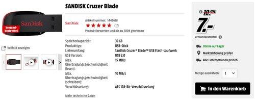 SANDISK Cruzer Blade 32 GB - jetzt 36% billiger