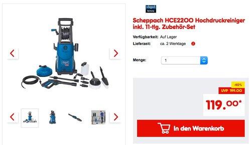 Scheppach HCE2200 Hochdruckreiniger inkl. 11-tlg. Zubehör-Set - jetzt 11% billiger
