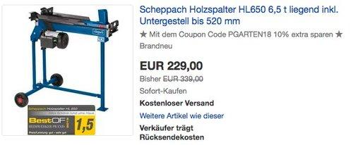 Scheppach Holzspalter HL650 6,5 t liegend inkl. Untergestell - jetzt 18% billiger