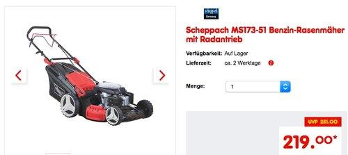 Scheppach MS173-51 Benzin-Rasenmäher mit Radantrieb - jetzt 15% billiger