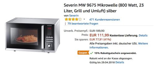 Severin MW 9675 Mikrowelle - jetzt 15% billiger
