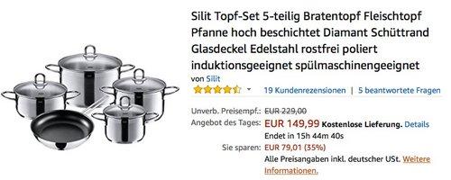 Silit Topf-Set 5-teilig Diamant - jetzt 35% billiger