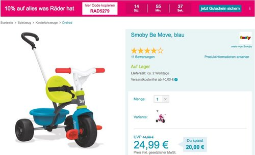 Smoby - Be Move Dreirad, blau - jetzt 22% billiger