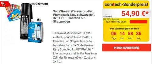 SodaStream Wassersprudler Promopack Easy schwarz inkl. 3x 1L PET-Flaschen & 6 Sirupproben - jetzt 13% billiger