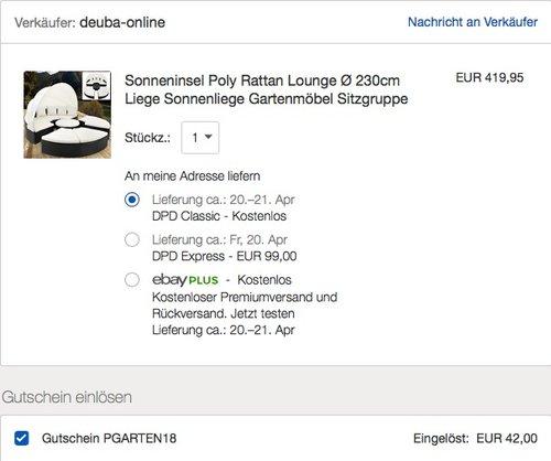 Sonneninsel Poly Rattan Lounge Ø 230cm - jetzt 10% billiger