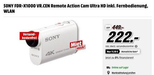 SONY FDR-X1000 VR.CEN Remote Action Cam Ultra HD inkl. Fernbedienung - jetzt 21% billiger