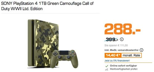SONY PlayStation 4 1TB Green Camouflage Call of Duty WWII Ltd. Edition - jetzt 14% billiger