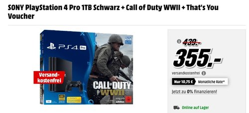 SONY PlayStation 4 Pro 1TB Schwarz + Call of Duty WWII + That's You Voucher - jetzt 19% billiger