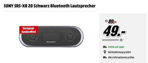 SONY SRS-XB 20 Schwarz Bluetooth Lautsprecher - jetzt 35% billiger