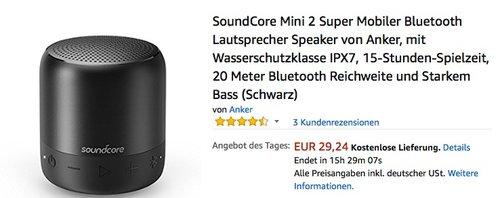 SoundCore Mini 2 Super Mobiler Bluetooth Lautsprecher - jetzt 35% billiger