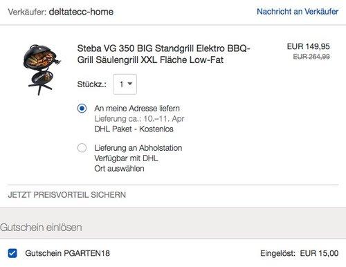 Steba VG 350 BIG Standgrill Elektro BBQ-Grill Säulengrill - jetzt 10% billiger