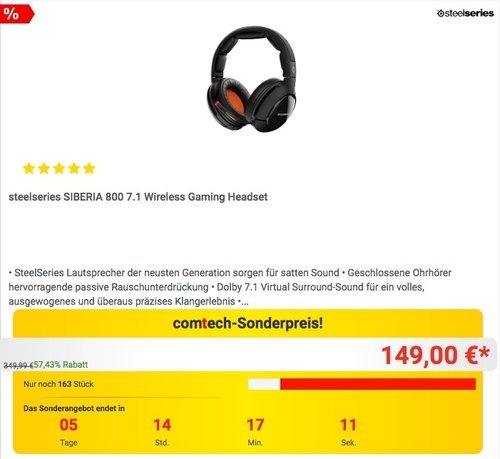 steelseries SIBERIA 800 7.1 Wireless Gaming-Headset - jetzt 40% billiger