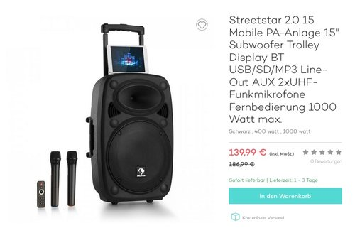 "Streetstar 2.0 15 Mobile PA-Anlage 15"" Subwoofer Trolley - jetzt 22% billiger"