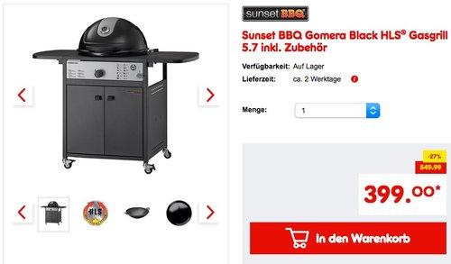 Sunset BBQ Gomera Black HLS® Gasgrill 5.7 inkl. Zubehör - jetzt 15% billiger