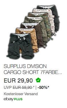 Surplus Division Herren Cargo Shorts - jetzt 25% billiger