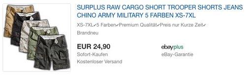 SURPLUS RAW CARGO SHORT 5 FARBEN XS-7XL - jetzt 22% billiger