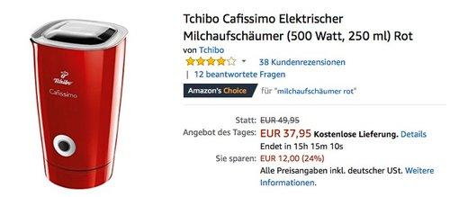 Tchibo Cafissimo Elektrischer Milchaufschäumer (500 Watt, 250 ml) Rot - jetzt 24% billiger