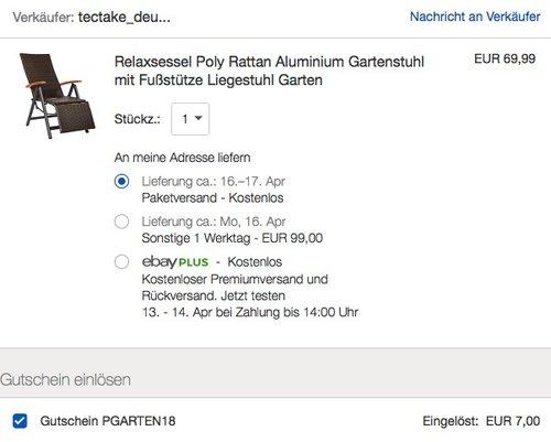 TecTake Aluminium Poly Rattan Gartenstuhl mit Fußstütze - jetzt 16% billiger
