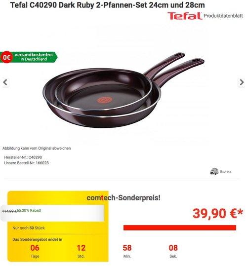 Tefal C40290 Dark Ruby 2-Pfannen-Set 24cm und 28cm - jetzt 13% billiger