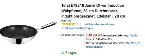 Tefal E79219 Jamie Oliver Induction Wokpfanne, 28 cm Durchmesser - jetzt 18% billiger