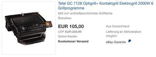 Tefal GC 7128 Optigrill+ Kontaktgrill Elektrogrill - jetzt 28% billiger