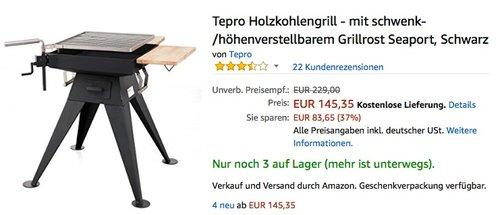 Tepro Holzkohlengrill - mit schwenk-/höhenverstellbarem Grillrost Seaport - jetzt 9% billiger