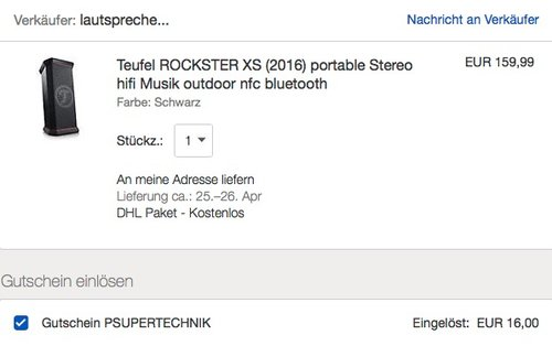 Teufel ROCKSTER XS (2016) Bluetooth-Stereo-Speaker - jetzt 20% billiger