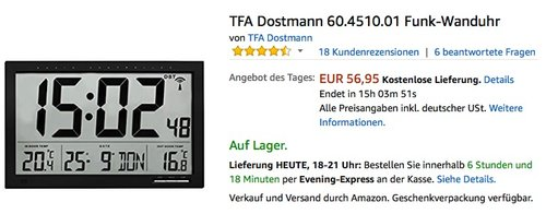 TFA Dostmann 60.4510.01 Funk-Wanduhr - jetzt 24% billiger